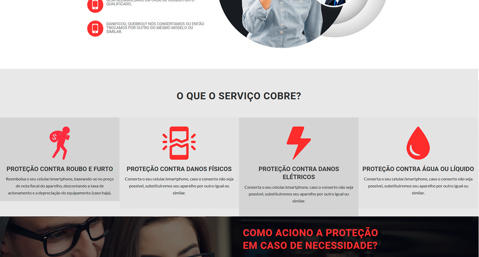 Criação de Sites para proteção de celular